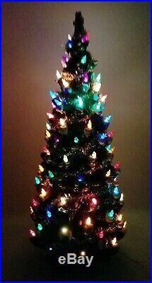 RARE Vintage Atlantic Mold VERY LARGE 31 Ceramic Flocked Christmas Tree