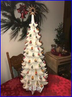 RARE Vtg Atlantic Mold VERY LARGE Ceramic STAR Christmas Tree with Base 35