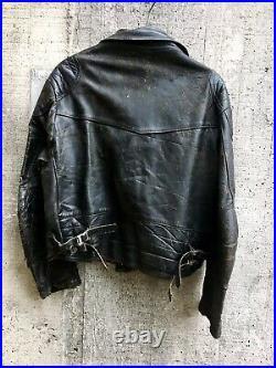 Rare Large 44 70s Lewis Leathers Aviakit Lightning Motorcycle Jacket Very worn