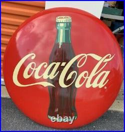 Rare Original Very Large 36 Inch Vintage Coke Button Sign