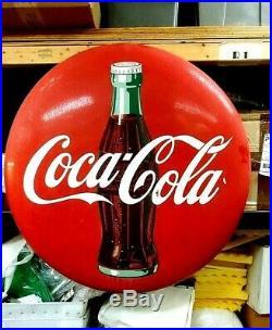 Rare Original Very Large 36 inch Vintage Coke Button Sign circa 1950's