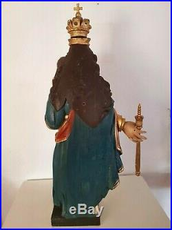 Rare Very Large Baroque Hand Carved Wood Polychrome Madonna H 40 Inch / 31 lb