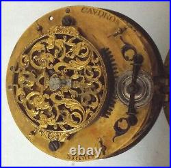 Rare Very Large French Oignon In Leather Case Watch Verge Fusee Working