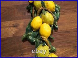 Rare! Very Large! Vtg Majolica Cascading Lemons On Branch Wall Hanging Sculpture