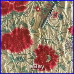 Rare antique silk piano shawl very large embroidered red roses from'20's