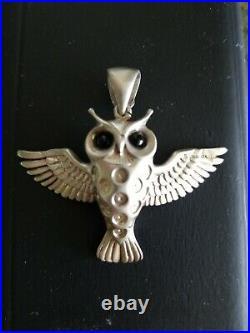 SERGIO BUSTAMANTE VERY RARE OWL PENDANT WithONYX EYES LARGE BALE 20 GRAMS