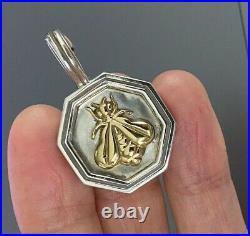 SLANE Large 18K GOLD BEE Gold & Sterling Silver Enhancer Pendant VERY RARE