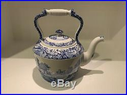 Spode Blue England Italian Design Very Large and Rare Tea Kettle