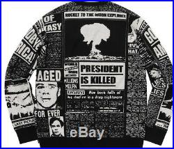 Supreme Newsprint Sweater FW18 Black RARE Size LARGE (VERY GOOD CONDITION)