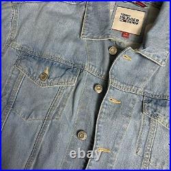 Tommy Hilfiger Big Flag Big Logo Denim Jean Jacket RARE Size Large Very Nice