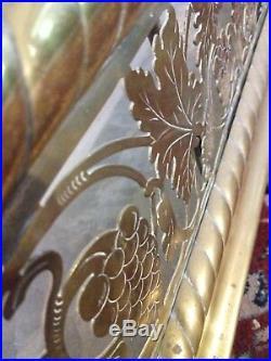 VERY RARE Antique Brass Large Fireplace Fender Grape Vine Paw Feet 53.75 W