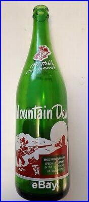 VERY RARE CDN MOUNTAIN DEW 28 OUNCE LARGE BOTTLE-With HILLBILLY & JUG-NO CAP