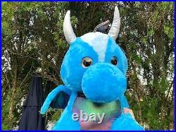 VERY RARE JUMBO Winged Blue Dragon EXTRA LARGE 40 Fat Plush Stuffed Animal Toy