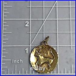 VERY RARE Retired James Avery 14k Large Taurus Zodiac Medallion Pendant Charm