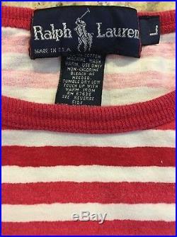 VERY RARE VTG Ralph Lauren Polo P2 RL-67 Red Striped Tshirt L Stadium P Wing