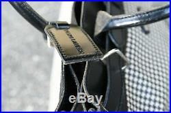VERY RARE vtg 40 CM LARGE POLO RALPH LAUREN Houndstooth Leather PVC Tote Bag