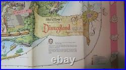 VINTAGE 1961 VERY RARE Disneyland Park Large Map 44 x 30- Heavy Paper Stock