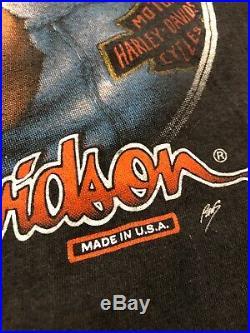 VINTAGE 3D Emblem 1988 Harley Davidson Road Hog Power T-Shirt L Large Very Rare
