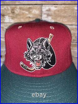 VINTAGE RARE 90s IHL Chicago Wolves Red Very Rare Hockey snapback Hat Cap