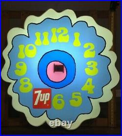 Very Large 3 Foot Vintage 7up Flower Electric Wall Clock NOS Rare Advertising