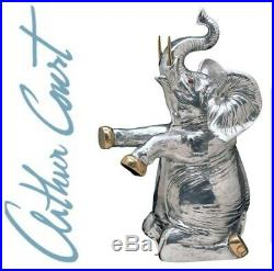 Very Large Arthur Court Signed Aluminum Elephant Champagne Wine Cooler RARE