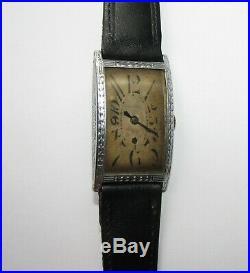 Very Large Tank wristwatch 1920s Art Deco watch swiss made rare case