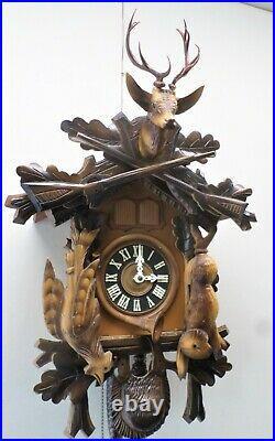 Very Nice Rare Large German Quail Steinadler Hunter Deer Head Cuckoo Clock