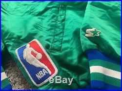 Very RARE VTG Official Starter Dallas Mavericks NBA Green Satin Jacket Size L
