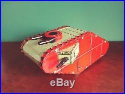 Very Rare 1930's Distler Large Tin Wind-up Peeking Soldier WWI Tank