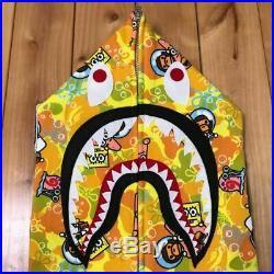 Very Rare AUTHENTIC A Bathing Ape BAPE SpongeBob Shark Parker Full Zip Hoodie L