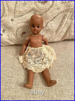 Very Rare Antique Large All Bisque 6 Black Doll Barefoot Mignonette Glass Eyes