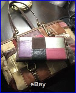 Very Rare Coach Patchwork Shoulder Bag & Matching Checkbook Wallet