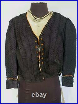 Very Rare Designer French Antique Victorian Blue Wool & Silk Bodice Size Large