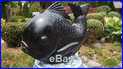 Very Rare Extra Large Size Japanese Meiji Period Chagama Tetsubin Wood Koi Fish