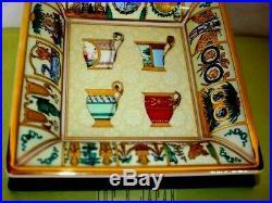 Very Rare GUCCI Luxurious Gold Trim Large 7.5 Square Porcelain Tray VTG Ashtray