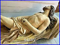 Very Rare Large Antique Catholic Church Altar Christ In Repose Jesus Statue