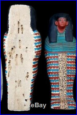 Very Rare Large Egyptian Royal Wooden coffin antique Burial priest hieroglyphic