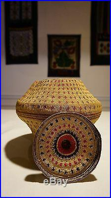 Very Rare Large Fine Weave Pacific NW Makah Nootka Knob Basket Ca. 1870 1890's