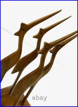 Very Rare Large MID Century Danish Modern Teak Sculpture Heron Birds By Jensen