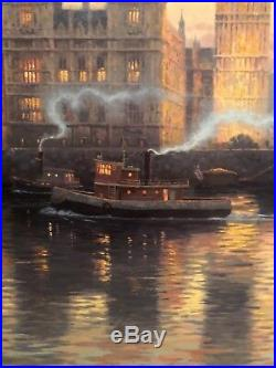 Very Rare Large Size With Remark Thomas Kinkade Oil Painting Canvas London Big Ben