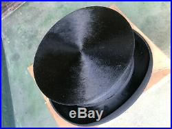 Very Rare Splendid Dunn & Co Vintage Silk Black Top Hat UK 7 1/4 Large 1940s