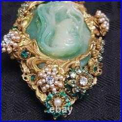 Very Rare Stanley Hagler NYC Cameo Brooch Pin Jade Large Stunning