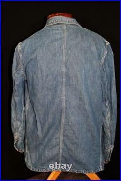 Very Rare Vintage 1950's Burlington Overall Cotton Denim Jacket Size Large