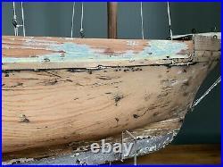 Very Rare Vintage Antique Pond Schooner or Brig Yacht Ship Boat Large Lead Keel