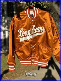 Very Rare Vintage Texas Longhorns Satin Bomber Jacket Sz L Mint Starter Style