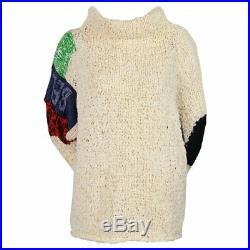 Very rare CELINE Phoebe Philo oversized handknit patchwork BELONG sweater