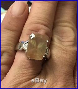 Very rare Vintage large peach orange Sunstone Moonstone white Gold WG Ring 7