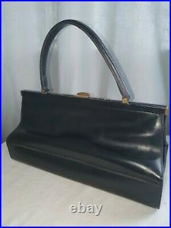 Very rare large genuine 1950s poodle umbrella bag black leather