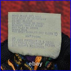 Vintage COOGI Multicolor Turtleneck Knit Mens Sweater Size L Very Rare Retro