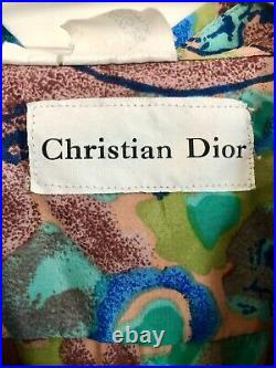 Vintage Christian Dior Silk Shirt Very Rare 80s 90s Colorful Abstract Button